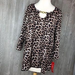 Rebecca Malone Woman Cheetah Top NWT Plus Size 1x